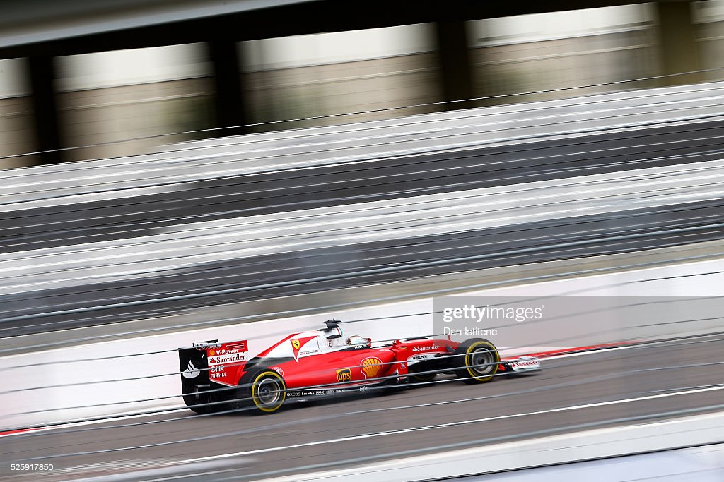 <a gi-track='captionPersonalityLinkClicked' href=/galleries/search?phrase=Sebastian+Vettel&family=editorial&specificpeople=2233605 ng-click='$event.stopPropagation()'>Sebastian Vettel</a> of Germany drives the Scuderia Ferrari SF16-H Ferrari 059/5 turbo during practice for the Formula One Grand Prix of Russia at Sochi Autodrom on April 29, 2016 in Sochi, Russia.