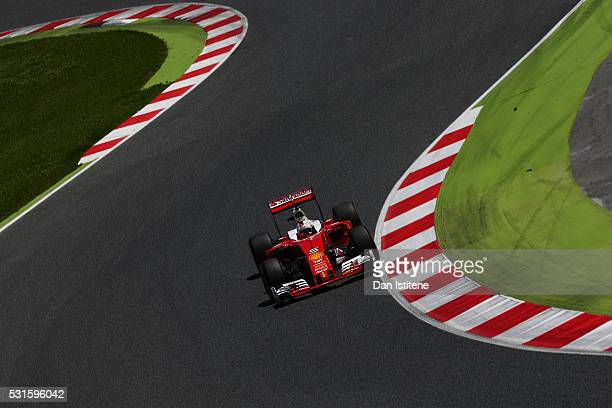 Sebastian Vettel of Germany drives the Scuderia Ferrari SF16H Ferrari 059/5 turbo during the Spanish Formula One Grand Prix at Circuit de Catalunya...