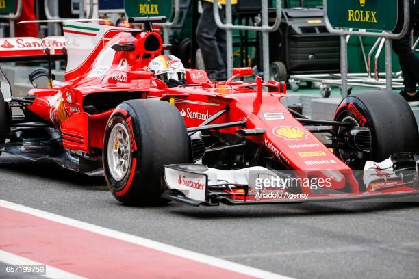 Sebastian Vettel of Germany driving for Scuderia Ferrari exits pit lane on Friday Free Practice during the 2017 Rolex Australian Formula 1 Grand Prix...