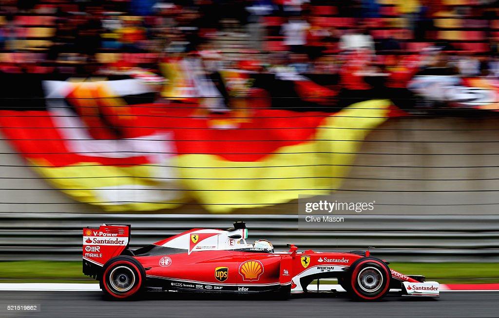 Sebastian Vettel of Germany driving the Scuderia Ferrari SF16H Ferrari 059/5 turbo on track during qualifying for the Formula One Grand Prix of China...