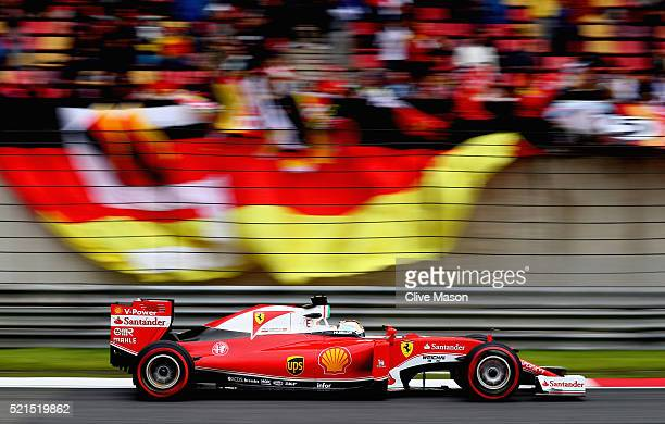 Sebastian Vettel of Germany driving the Scuderia Ferrari SF16H Ferrari 059/5 turbo on track during qualifying for the Formula One Grand Prix of China...