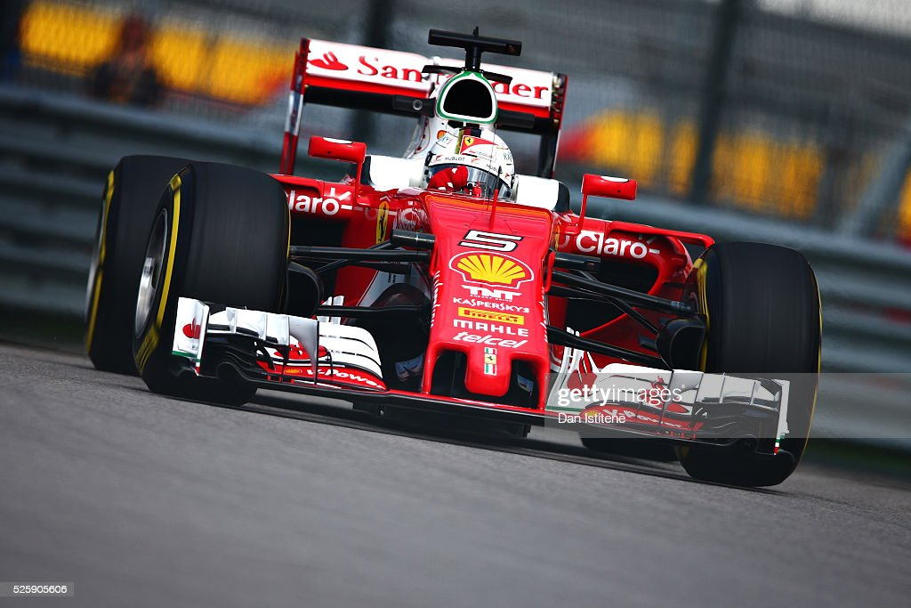 <a gi-track='captionPersonalityLinkClicked' href=/galleries/search?phrase=Sebastian+Vettel&family=editorial&specificpeople=2233605 ng-click='$event.stopPropagation()'>Sebastian Vettel</a> of Germany driving the (5) Scuderia Ferrari SF16-H Ferrari 059/5 turbo (Shell GP) on track during practice for the Formula One Grand Prix of Russia at Sochi Autodrom on April 29, 2016 in Sochi, Russia.