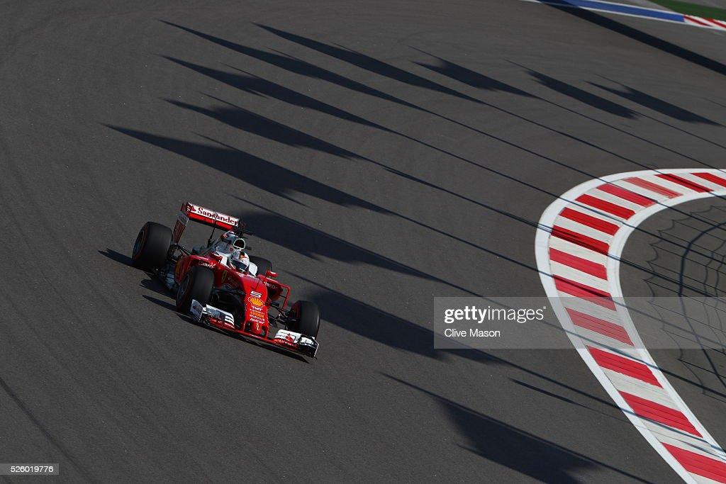 <a gi-track='captionPersonalityLinkClicked' href=/galleries/search?phrase=Sebastian+Vettel&family=editorial&specificpeople=2233605 ng-click='$event.stopPropagation()'>Sebastian Vettel</a> of Germany driving the (5) Scuderia Ferrari SF16-H Ferrari 059/5 turbo (Shell GP) on track during practice for the Formula One Grand Prix of Russia at Sochi Autodrom on April 29, 2016 in Sochi, Russia.