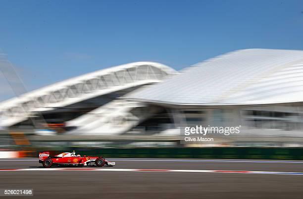 Sebastian Vettel of Germany driving the Scuderia Ferrari SF16H Ferrari 059/5 turbo on track during practice for the Formula One Grand Prix of Russia...