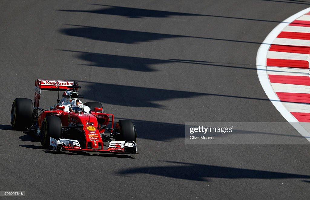 Sebastian Vettel of Germany driving the (5) Scuderia Ferrari SF16-H Ferrari 059/5 turbo (Shell GP) on track during practice for the Formula One Grand Prix of Russia at Sochi Autodrom on April 29, 2016 in Sochi, Russia.
