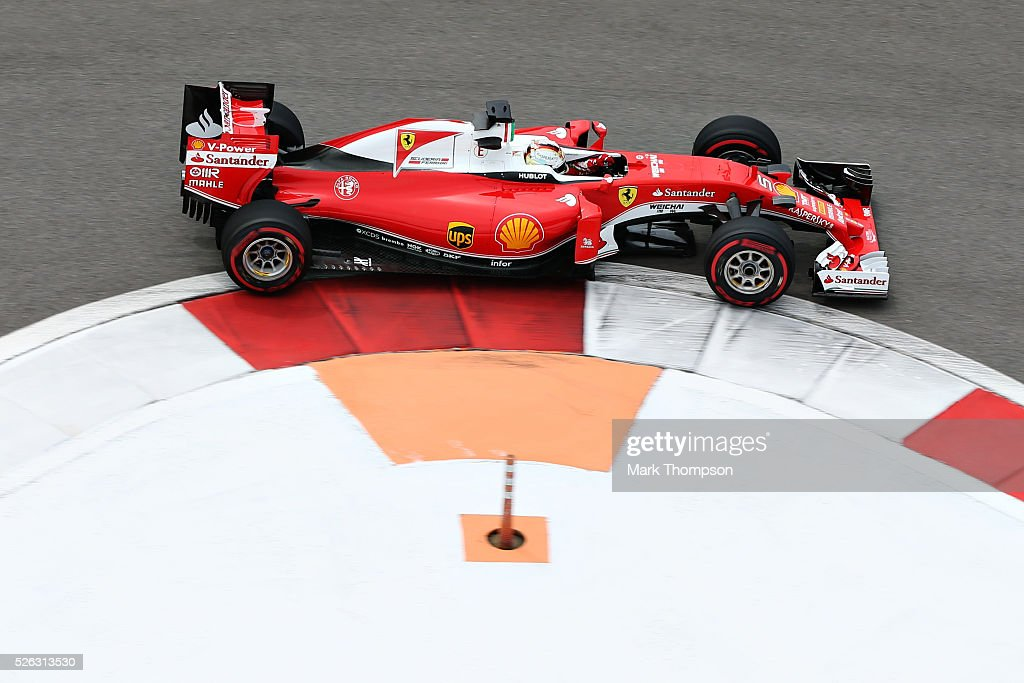 <a gi-track='captionPersonalityLinkClicked' href=/galleries/search?phrase=Sebastian+Vettel&family=editorial&specificpeople=2233605 ng-click='$event.stopPropagation()'>Sebastian Vettel</a> of Germany driving the (5) Scuderia Ferrari SF16-H Ferrari 059/5 turbo (Shell GP) on track during final practice ahead of the Formula One Grand Prix of Russia at Sochi Autodrom on April 30, 2016 in Sochi, Russia.