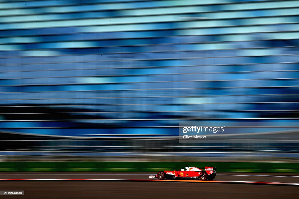 Sebastian Vettel of Germany driving the (5) Scuderia Ferrari SF16-H Ferrari 059/5 turbo (Shell GP) on track during qualifying for the Formula One Grand Prix of Russia at Sochi Autodrom on April 30, 2016 in Sochi, Russia.