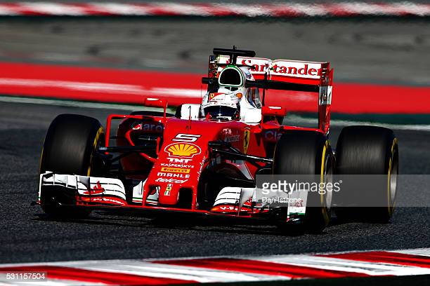 Sebastian Vettel of Germany driving the Scuderia Ferrari SF16H Ferrari 059/5 turbo on track during practice for the Spanish Formula One Grand Prix at...