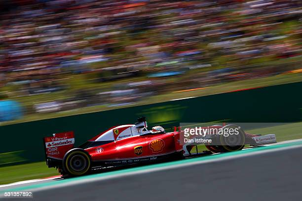 Sebastian Vettel of Germany driving the Scuderia Ferrari SF16H Ferrari 059/5 turbo on track during qualifying for the Spanish Formula One Grand Prix...