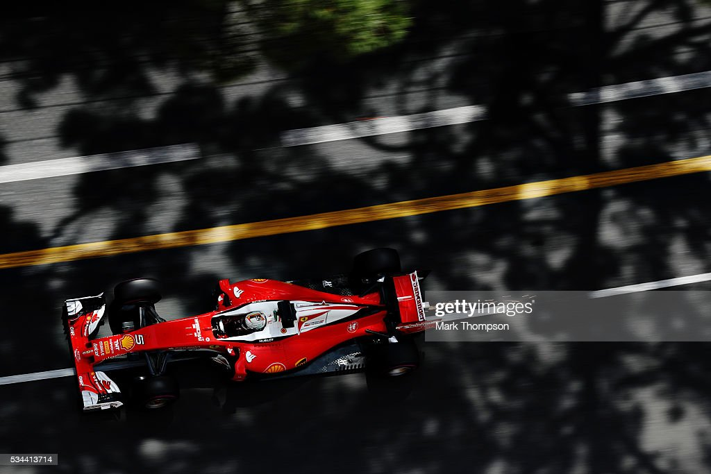 Sebastian Vettel of Germany driving the Scuderia Ferrari SF16H Ferrari 059/5 turbo on track during practice for the Monaco Formula One Grand Prix at...