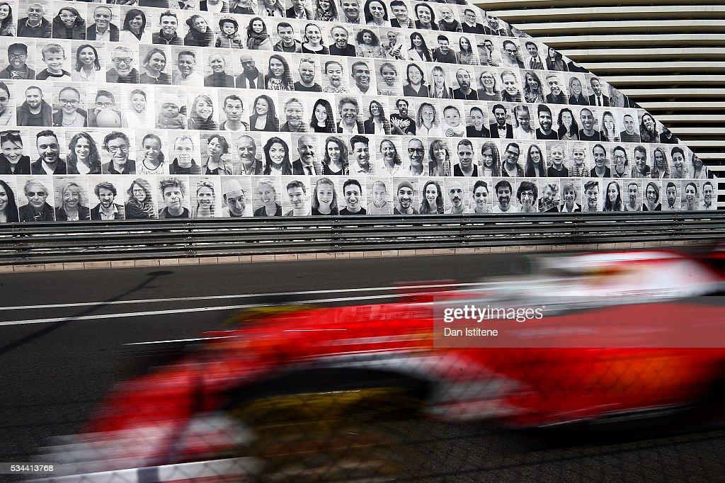 <a gi-track='captionPersonalityLinkClicked' href=/galleries/search?phrase=Sebastian+Vettel&family=editorial&specificpeople=2233605 ng-click='$event.stopPropagation()'>Sebastian Vettel</a> of Germany driving the (5) Scuderia Ferrari SF16-H Ferrari 059/5 turbo (Shell GP) on track during practice for the Monaco Formula One Grand Prix at Circuit de Monaco on May 26, 2016 in Monte-Carlo, Monaco.
