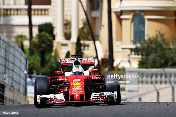 Sebastian Vettel of Germany driving the Scuderia Ferrari SF16H Ferrari 059/5 turbo on track during final practice ahead of the Monaco Formula One...