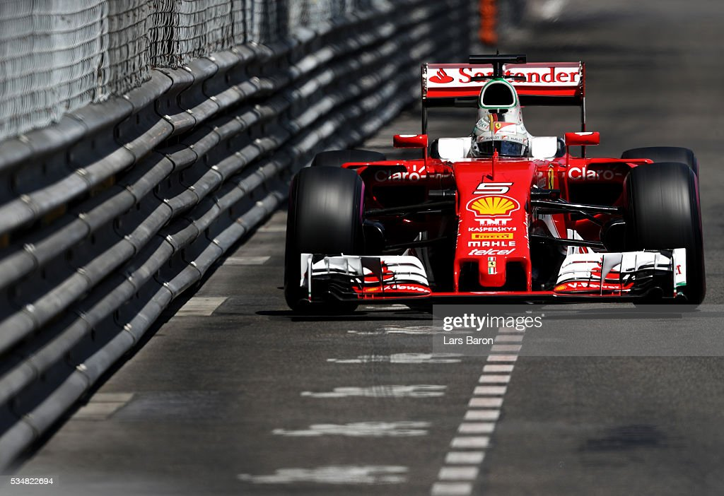 Sebastian Vettel of Germany driving the Scuderia Ferrari SF16H Ferrari 059/5 turbo on track during qualifying for the Monaco Formula One Grand Prix...