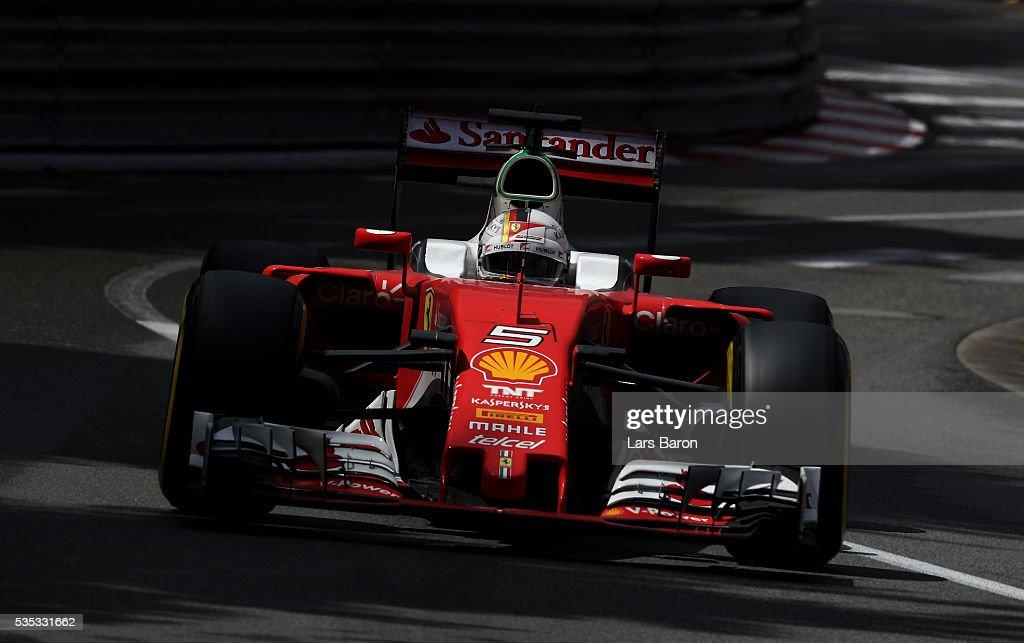 <a gi-track='captionPersonalityLinkClicked' href=/galleries/search?phrase=Sebastian+Vettel&family=editorial&specificpeople=2233605 ng-click='$event.stopPropagation()'>Sebastian Vettel</a> of Germany driving the (5) Scuderia Ferrari SF16-H Ferrari 059/5 turbo (Shell GP) on track during the Monaco Formula One Grand Prix at Circuit de Monaco on May 29, 2016 in Monte-Carlo, Monaco.