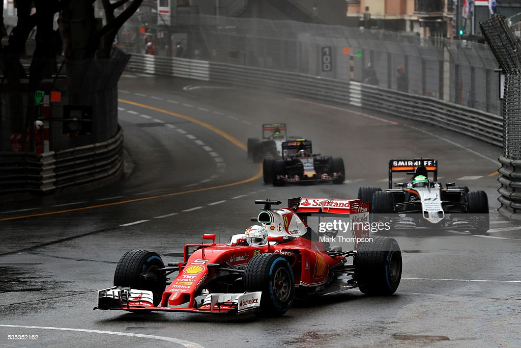 <a gi-track='captionPersonalityLinkClicked' href=/galleries/search?phrase=Sebastian+Vettel&family=editorial&specificpeople=2233605 ng-click='$event.stopPropagation()'>Sebastian Vettel</a> of Germany driving the (5) Scuderia Ferrari SF16-H Ferrari 059/5 turbo (Shell GP) leads Nico Hulkenberg of Germany driving the (27) Sahara Force India F1 Team VJM09 Mercedes PU106C Hybrid turbo on track during the Monaco Formula One Grand Prix at Circuit de Monaco on May 29, 2016 in Monte-Carlo, Monaco.