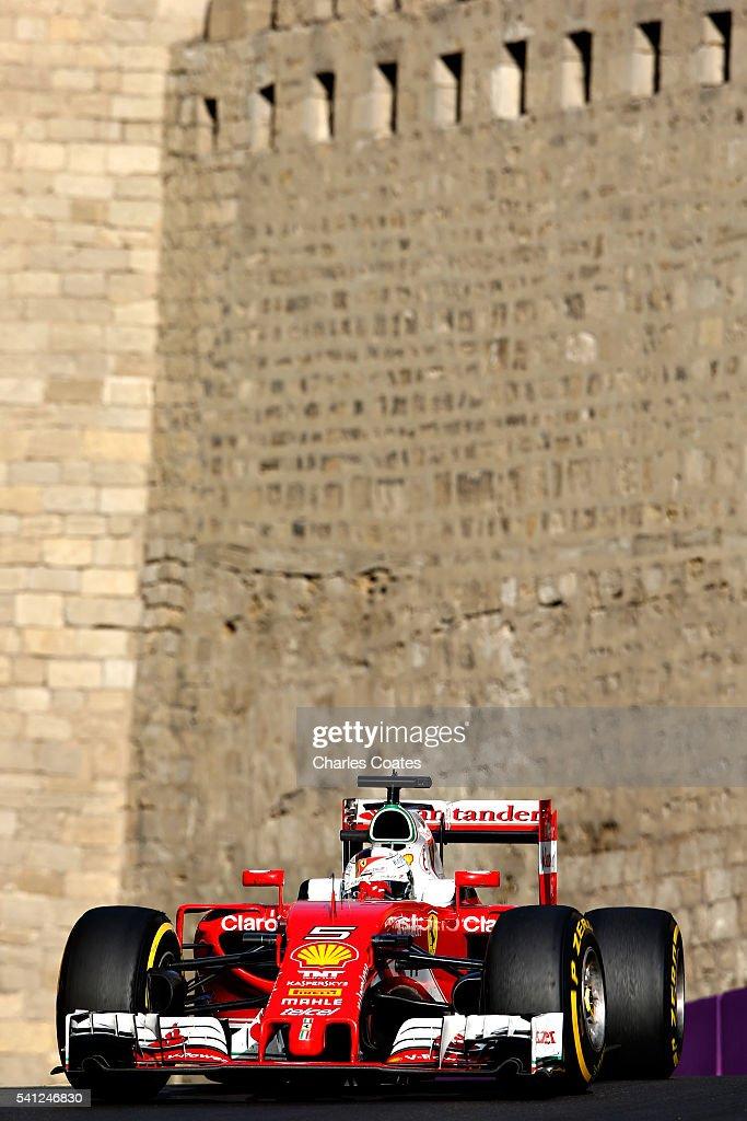 Sebastian Vettel of Germany driving the (5) Scuderia Ferrari SF16-H Ferrari 059/5 turbo (Shell GP) on track during the European Formula One Grand Prix at Baku City Circuit on June 19, 2016 in Baku, Azerbaijan.