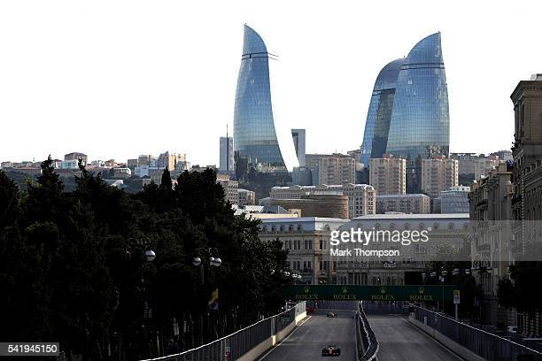 Sebastian Vettel of Germany driving the Scuderia Ferrari SF16H Ferrari 059/5 turbo on track during the European Formula One Grand Prix at Baku City...