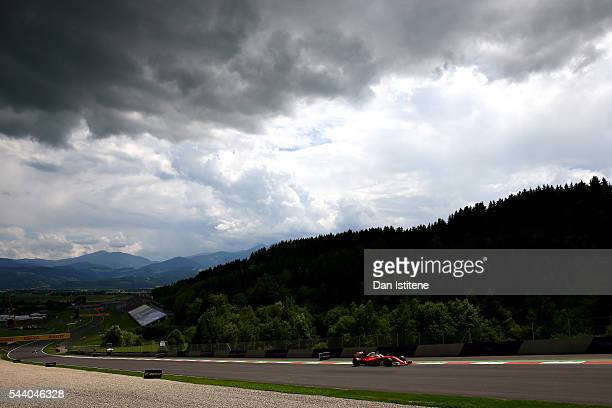Sebastian Vettel of Germany driving the Scuderia Ferrari SF16H Ferrari 059/5 turbo on track during practice for the Formula One Grand Prix of Austria...