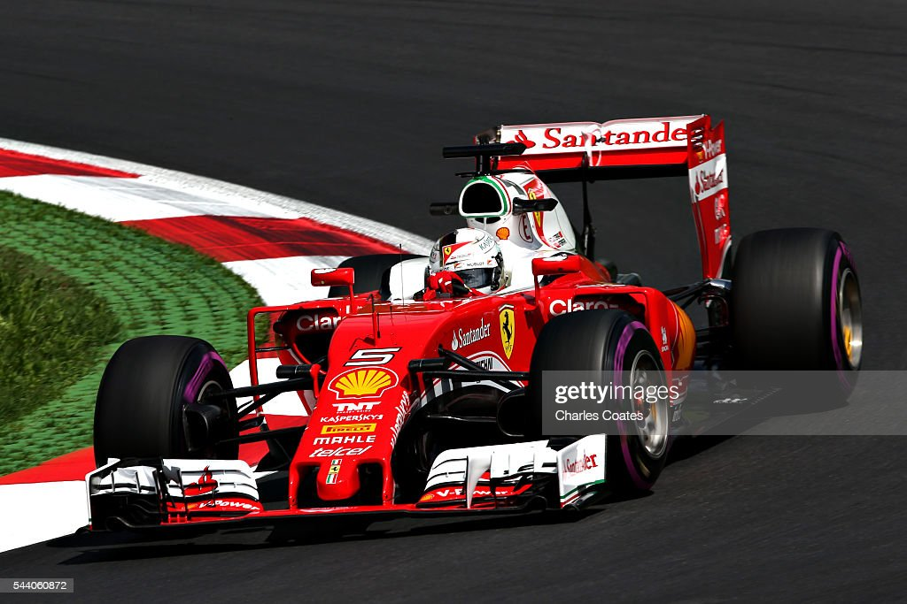 Sebastian Vettel of Germany driving the (5) Scuderia Ferrari SF16-H Ferrari 059/5 turbo (Shell GP) on track during practice for the Formula One Grand Prix of Austria at Red Bull Ring on July 1, 2016 in Spielberg, Austria.