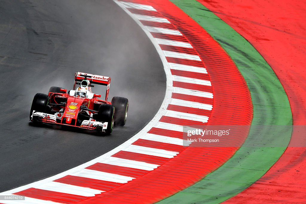 <a gi-track='captionPersonalityLinkClicked' href=/galleries/search?phrase=Sebastian+Vettel&family=editorial&specificpeople=2233605 ng-click='$event.stopPropagation()'>Sebastian Vettel</a> of Germany driving the (5) Scuderia Ferrari SF16-H Ferrari 059/5 turbo (Shell GP) on track during practice for the Formula One Grand Prix of Austria at Red Bull Ring on July 1, 2016 in Spielberg, Austria.