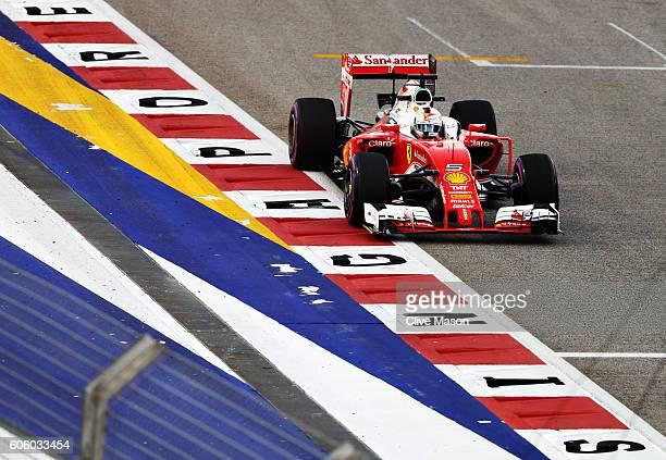 Sebastian Vettel of Germany driving the Scuderia Ferrari SF16H Ferrari 059/5 turbo on track during practice for the Formula One Grand Prix of...
