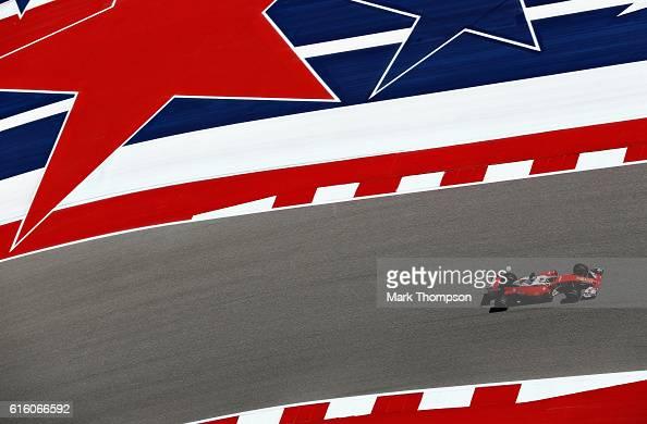 Sebastian Vettel of Germany driving the Scuderia Ferrari SF16H Ferrari 059/5 turbo on track during practice for the United States Formula One Grand...