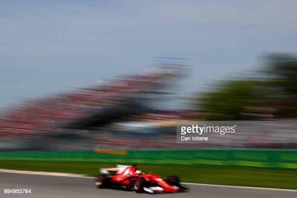 Sebastian Vettel of Germany driving the Scuderia Ferrari SF70H during the Canadian Formula One Grand Prix at Circuit Gilles Villeneuve on June 11...