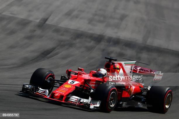 Sebastian Vettel of Germany driving the Scuderia Ferrari SF70H during the Canadian Formula One Grand Prix at Circuit Gilles Villeneuve on June 11...