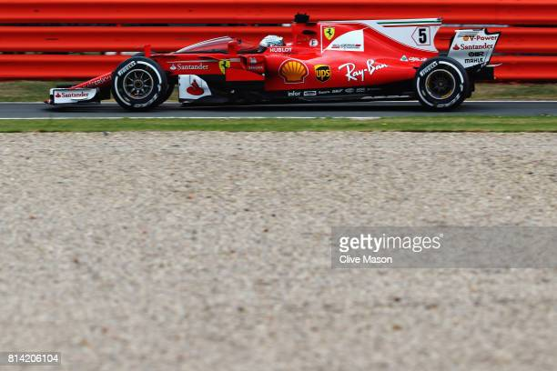 Sebastian Vettel of Germany driving the Scuderia Ferrari SF70H fitted with the cockpit shield during practice for the Formula One Grand Prix of Great...