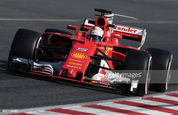 Sebastian Vettel of Germany driving the Scuderia Ferrari SF70H in action during the Formula One winter testing at Circuit de Catalunya on March 10...