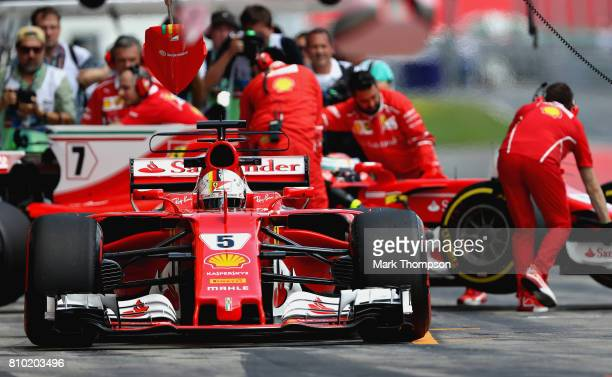Sebastian Vettel of Germany driving the Scuderia Ferrari SF70H in the Pitlane during practice for the Formula One Grand Prix of Austria at Red Bull...