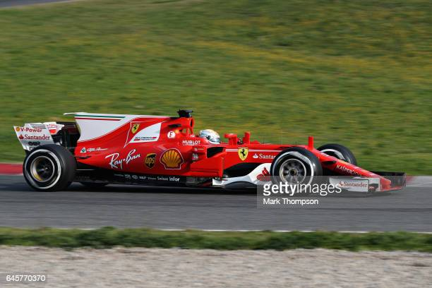Sebastian Vettel of Germany driving the Scuderia Ferrari SF70H on track during day one of Formula One winter testing at Circuit de Catalunya on...