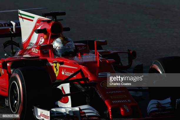 Sebastian Vettel of Germany driving the Scuderia Ferrari SF70H on track during day three of Formula One winter testing at Circuit de Catalunya on...