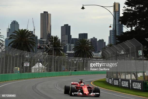 Sebastian Vettel of Germany driving the Scuderia Ferrari SF70H on track during practice for the Australian Formula One Grand Prix at Albert Park on...