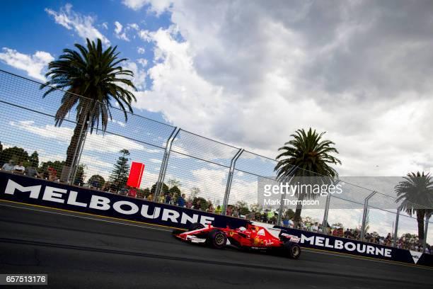 Sebastian Vettel of Germany driving the Scuderia Ferrari SF70H on track during final practice for the Australian Formula One Grand Prix at Albert...