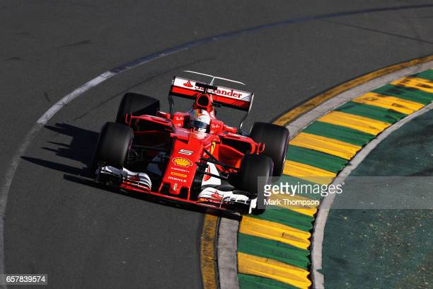 Sebastian Vettel of Germany driving the Scuderia Ferrari SF70H on track during the Australian Formula One Grand Prix at Albert Park on March 26 2017...
