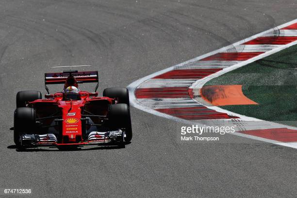 Sebastian Vettel of Germany driving the Scuderia Ferrari SF70H on track during final practice for the Formula One Grand Prix of Russia on April 29...