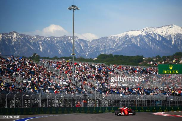 Sebastian Vettel of Germany driving the Scuderia Ferrari SF70H on track during qualifying for the Formula One Grand Prix of Russia on April 29 2017...