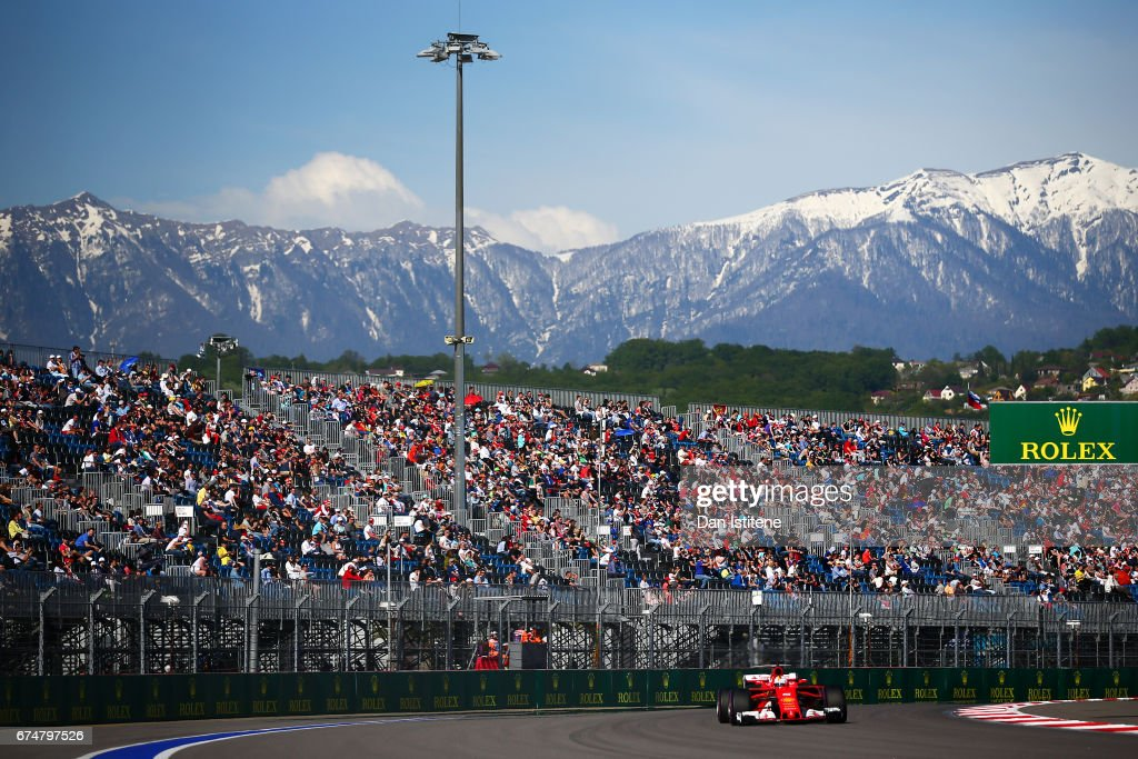 Sebastian Vettel of Germany driving the (5) Scuderia Ferrari SF70H on track during qualifying for the Formula One Grand Prix of Russia on April 29, 2017 in Sochi, Russia.