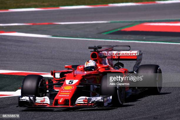 Sebastian Vettel of Germany driving the Scuderia Ferrari SF70H on track during final practice for the Spanish Formula One Grand Prix at Circuit de...