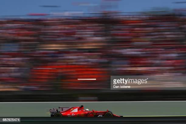 Sebastian Vettel of Germany driving the Scuderia Ferrari SF70H on track during the Spanish Formula One Grand Prix at Circuit de Catalunya on May 14...