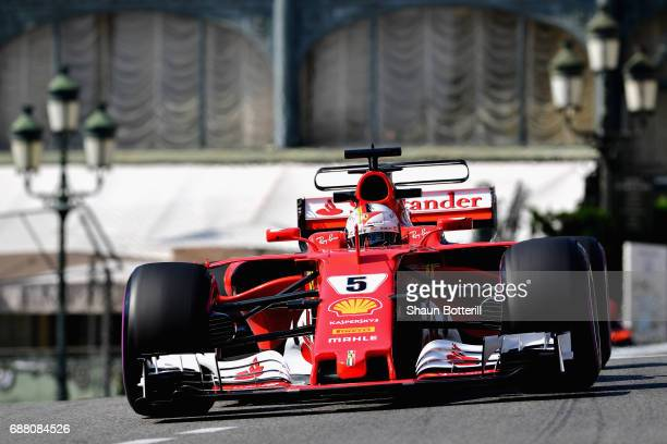 Sebastian Vettel of Germany driving the Scuderia Ferrari SF70H on track during practice for the Monaco Formula One Grand Prix at Circuit de Monaco on...