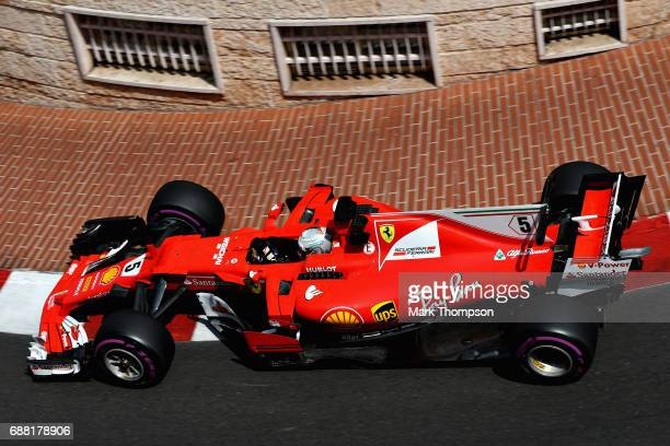 Sebastian Vettel of Germany driving the Scuderia Ferrari SF70H on track during practice for the Monaco Formula One Grand Prix at Circuit de Monaco on...