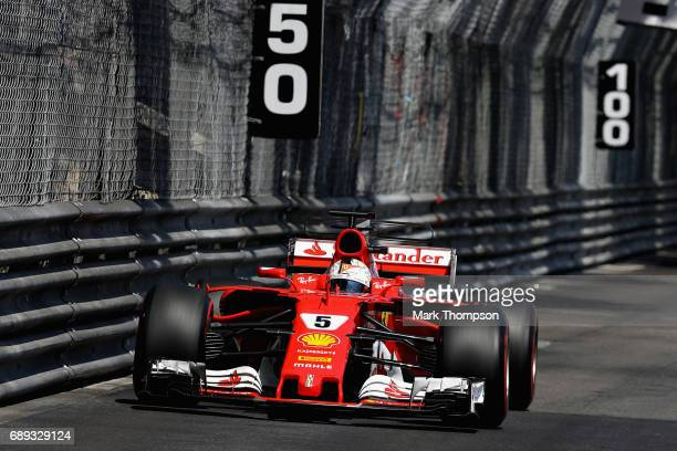 Sebastian Vettel of Germany driving the Scuderia Ferrari SF70H on track during the Monaco Formula One Grand Prix at Circuit de Monaco on May 28 2017...