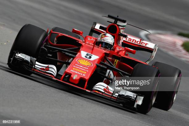 Sebastian Vettel of Germany driving the Scuderia Ferrari SF70H on track during practice for the Canadian Formula One Grand Prix at Circuit Gilles...