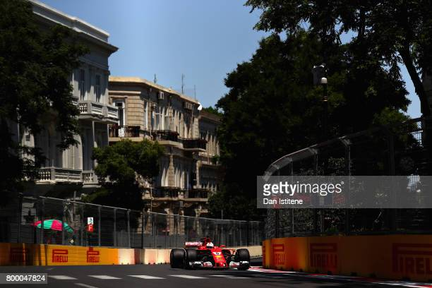 Sebastian Vettel of Germany driving the Scuderia Ferrari SF70H on track during practice for the European Formula One Grand Prix at Baku City Circuit...