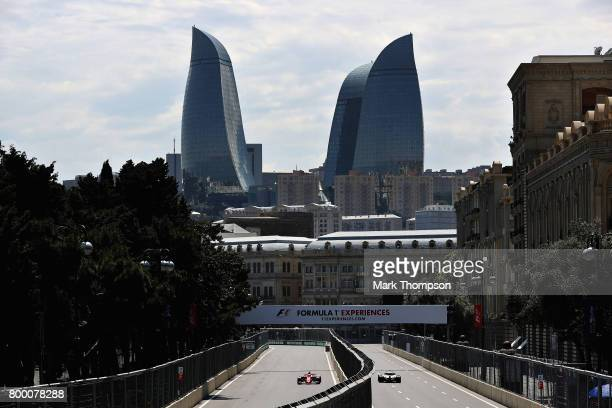 Sebastian Vettel of Germany driving the Scuderia Ferrari SF70H on track during practice for the Azerbaijan Formula One Grand Prix at Baku City...