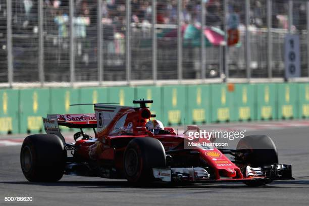 Sebastian Vettel of Germany driving the Scuderia Ferrari SF70H on track during the Azerbaijan Formula One Grand Prix at Baku City Circuit on June 25...