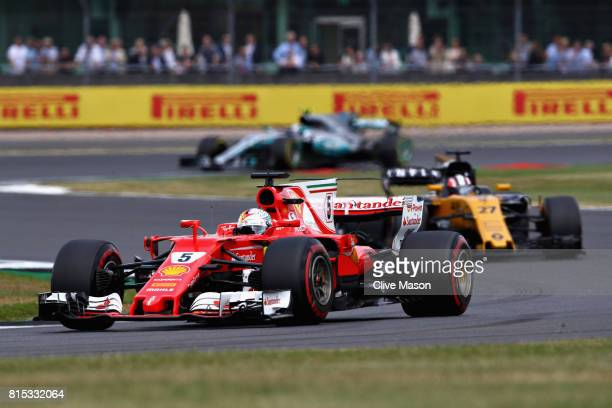 Sebastian Vettel of Germany driving the Scuderia Ferrari SF70H on track during the Formula One Grand Prix of Great Britain at Silverstone on July 16...