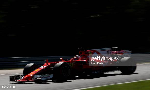 Sebastian Vettel of Germany driving the Scuderia Ferrari SF70H on track during qualifying for the Formula One Grand Prix of Hungary at Hungaroring on...